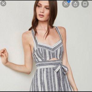 BCBG Maxazria Striped Cutout Midi Dress